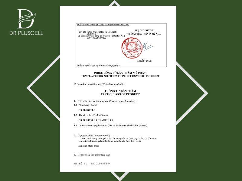 giấy công bố rcs ampoule dr pluscell