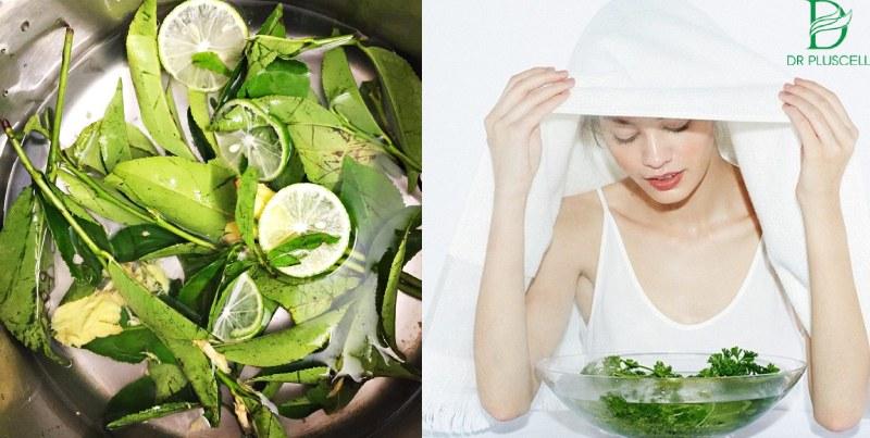 Trị mụn đơn giản tại nhà với xông hơi bằng lá trà xanh