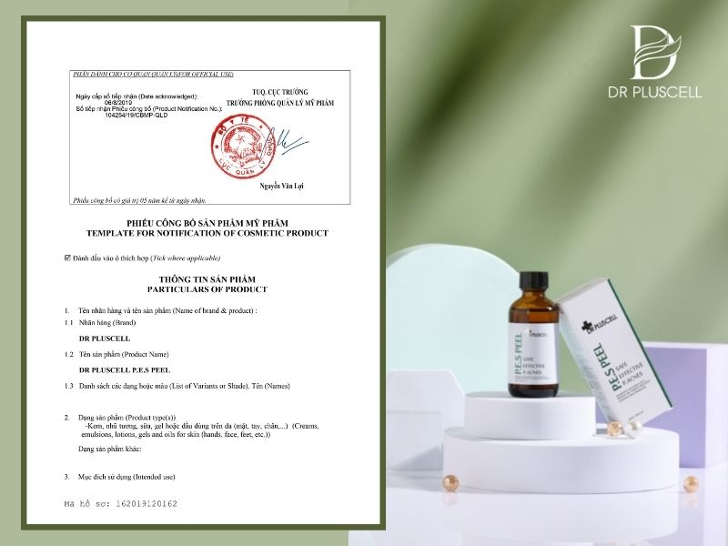 giấy công bố pes peel dr pluscell