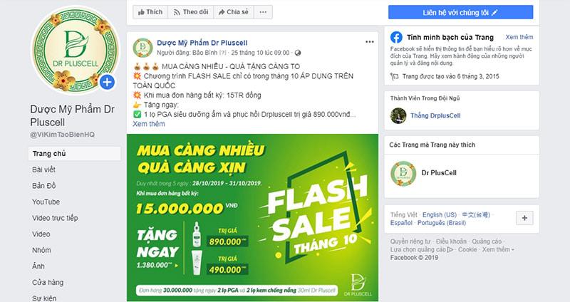 giảm giá, khuyến mãi trên facebook