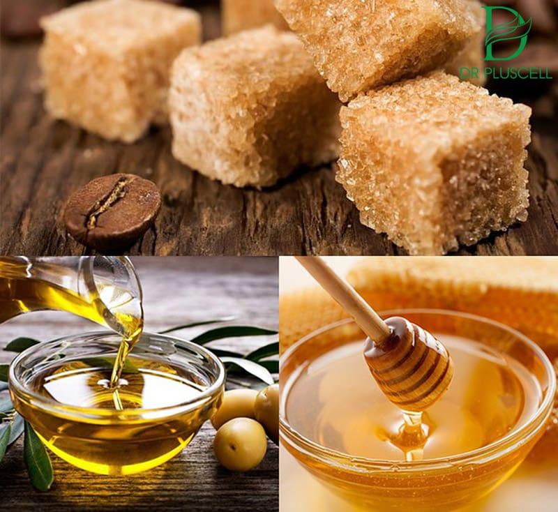 mật ong, đường nâu và dầu oliu
