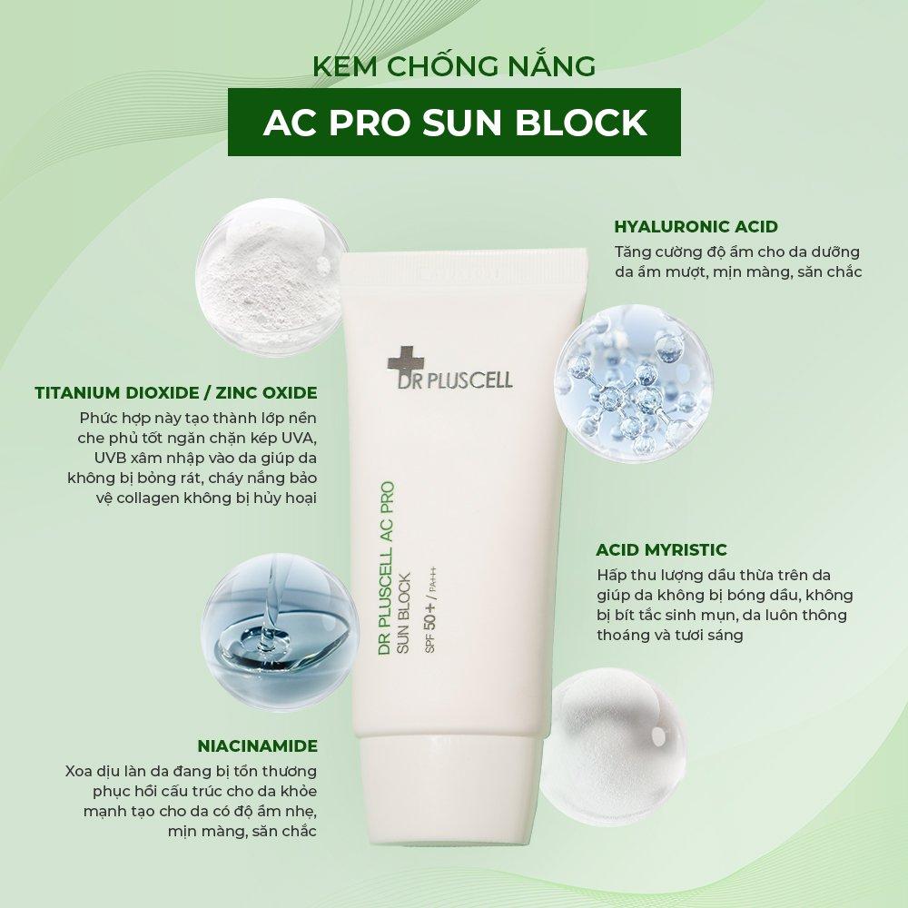 thành phần kem chống nắng cho da dầu mụn ac pro block dr pluscell